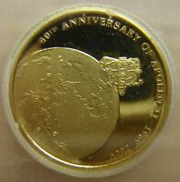 2009 COOK ISLANDS GOLD PROOF $10 APOLLO 11 ICG PR69 DCAM