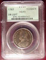 1787 CONNECTICUT HALF PENNY PCGS VG10 GREEN LABEL