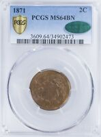 1871 TWO CENT PIECE PCGS MINT STATE 64BN PCGS GOLD SHIELD, CAC
