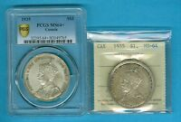 CANADA COINS: 2X DOLLAR 1935 BOTH MS 64 .TOTAL CAT:$295
