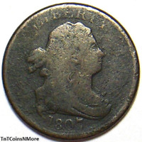 1807 DRAPED BUST HALF CENT COPPER HALF PENNY OLD US COLLECTIBLE COIN
