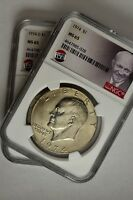 1974 PHILLY AND DENVER IKE EISENHOWER DOLLARS $1 NGC MINT STATE 65 TWO COIN LOT