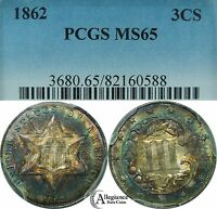 1862 THREE CENT SILVER PIECE PCGS MINT STATE 65 RAINBOW TONED  OLD TYPE COIN 3 CENTS