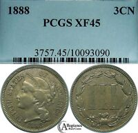 1888 THREE CENT NICKEL PIECE PCGS EXTRA FINE 45 KEY BETTER DATE  OLD TYPE COIN 3C