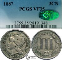 1887 THREE CENT NICKEL PCGS & CAC VF35  CLASSIC OLD TYPE COIN KEY DATE
