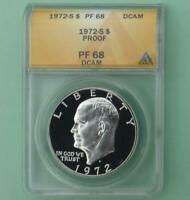 1972 S ANACS PROOF 68 DEEP CAMEO SILVER EISENHOWER $1, FROSTY PF 68 D-CAM