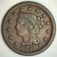 1851 BRAIDED HAIR LARGE CENT COPPER US TYPE COIN FINE 1C PENNY M12