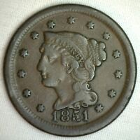 1851 BRAIDED HAIR LARGE CENT COPPER US TYPE COIN FINE 1C PENNY M13