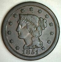 1851 BRAIDED HAIR LARGE CENT COPPER US TYPE COIN FINE 1C PENNY M15