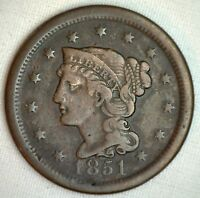 1851 BRAIDED HAIR LARGE CENT COPPER US TYPE COIN FINE 1C PENNY M16