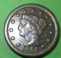 1851 LARGE BRAIDED HAIR  CENT-LARGE CENT, LIBERTY VISIBLE
