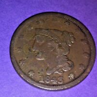 1843 LARGE CENT -BRAIDED HAIR-MATURE HEAD, 175 YEARS OLD -LB.NN