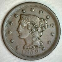 1852 BRAIDED HAIR LARGE CENT COPPER US TYPE COIN EXTRA FINE 1C PENNY EXTRA FINE  M2