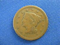 1852 BRAIDED HAIR COPPER LARGE CENT COIN