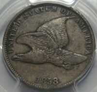 1858 PCGS VF35 FLYING EAGLE CENT, SMALL LETTERS, SHIPS FREE