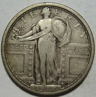 1917 VF/EXTRA FINE  STANDING QUARTER, TYPE 1, SHIPS FREE