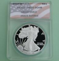 2007 W ANACS PR70 DEEP CAMEO SILVER EAGLE DOLLAR, PROOF 70 D-CAM $1, FLAG LABEL