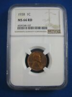 1938 NGC MINT STATE 66 LINCOLN CENT 1 C COIN