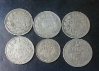 CHILE LOT OF 6 COINS 1 PESO 1921-1924-1925-1927-1932-1940 SILVER AND NQUEL