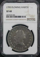 1795 FLOWING HAIR SILVER DOLLAR 3 LEAVES B-5, BB-27 NGC EXTRA FINE -40 -173541