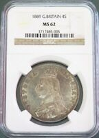 1889 SILVER GREAT BRITAIN 4 SHILLING DOUBLE FLORIN VICTORIA NGC MINT STATE 62