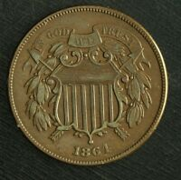 1864 TWO CENT  GREAT DETAILS   COLOR, LARGE MOTTO