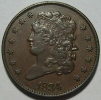 1834 EXTRA FINE  HALF CENT, SUPER EYE APPEAL, SHIPS FREE