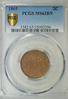 1865 2 CENT, PCGS MINT STATE 63BN