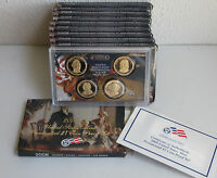LOT OF 10 TEN 2008 S PRESIDENTIAL $1 COIN PROOF SETS 4 DOLLARS BOX & COA ALL 10