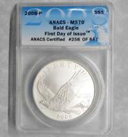 2008 P ANACS MS70 BALD EAGLE COMMEMORATIVE SILVER $1, FIRST DAY ISSUE 258