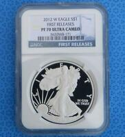 2012 W NGC PROOF 70 ULTRA CAMEO SILVER EAGLE, FROSTY PF70 U-CAM FIRST RELEASE