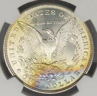 1886 NGC MINT STATE 63 MORGAN SILVER $1 COIN,  BLUE & ORANGE REVERSE COLOR TONE