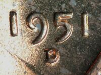 1951 D/D LINCOLN WHEAT CENT RPM 032 B/U