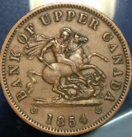 1854 UPPER CANADA DRAGONSLAYER ONE PENNY TOKEN   IN GREAT DETAILS
