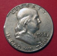 1958 BENJAMIN FRANKLIN HALF DOLLAR MINT ERROR CLIPPED PLANCHET
