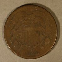 1869 US COPPER TWO CENT PIECE CIRCULATED             FREE U.S. SHIPPING