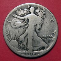 1916 D WALKING LIBERTY HALF DOLLAR   LOW MINTAGE FIRST YEAR