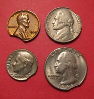 US COIN TYPE SET MINT ERROR CLIPPED PLANCHET   QUARTER DIME NICKEL AND CENT