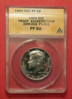 1964 ACCENTED HAIR KENNEDY HALF DOLLAR ANACS PF68 QDR FS 802   SUPERB COIN