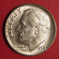 1954 ROOSEVELT DIME MINT ERROR INTERIOR DIE BREAK