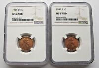 1945 D AND 1945 S LINCOLN NGC MINT STATE 67 RD.  SUPER  TWO 2 WHEAT CENTS LOT.