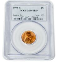 1955-S MINT STATE 66RD WHEAT CENT ONE CENT 1C SERIES 14 COIN 132 FULLY RED PCGS