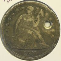 1842 $1 SEATED LIBERTY SILVER DOLLAR: HOLED