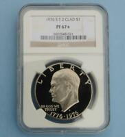 1976 S NGC PROOF 67 STAR TYPE 2 CLAD EISENHOWER $1, PF67 STAR T-2 DOLLAR