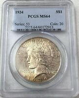 1934 PEACE SILVER DOLLAR PCGS MINT STATE 64 - STRONG TONING