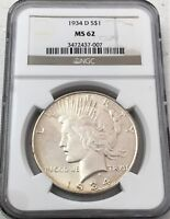 1934-D PEACE SILVER DOLLAR NGC MINT STATE 62 - BETTER DATE