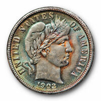 1903 BARBER DIME UNCIRCULATED HIGH END MINT STATE TONED LIBERTY HEAD 10569