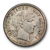 1914 BARBER HEAD DIME UNCIRCULATED MINT STATE LUSTROUS US COIN 5981