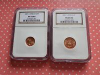 BEAUTIFUL SET OF SOUTH AFRICA 2001 1 CENT AND 2 CENT COINS NGC GRADED