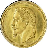 M1001   PATTERN 5 DOLLARS 25 FRANCS NAPOLON III OR GOLD 1867 PCGS SATIN FINISH 62
